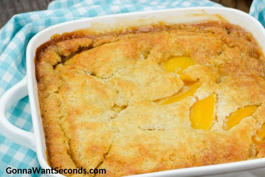 Bisquick peach cobbler in a baking dish