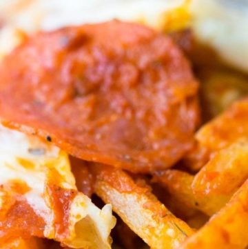 Pizza fries close up