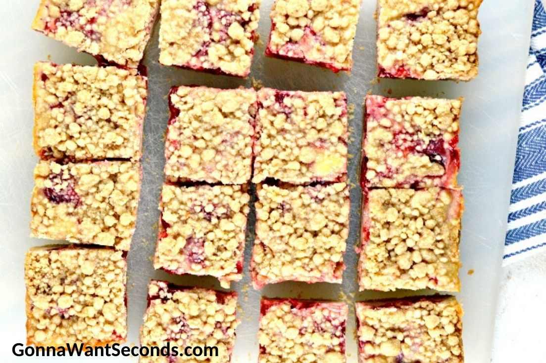 Strawberry Bars on a chopping board