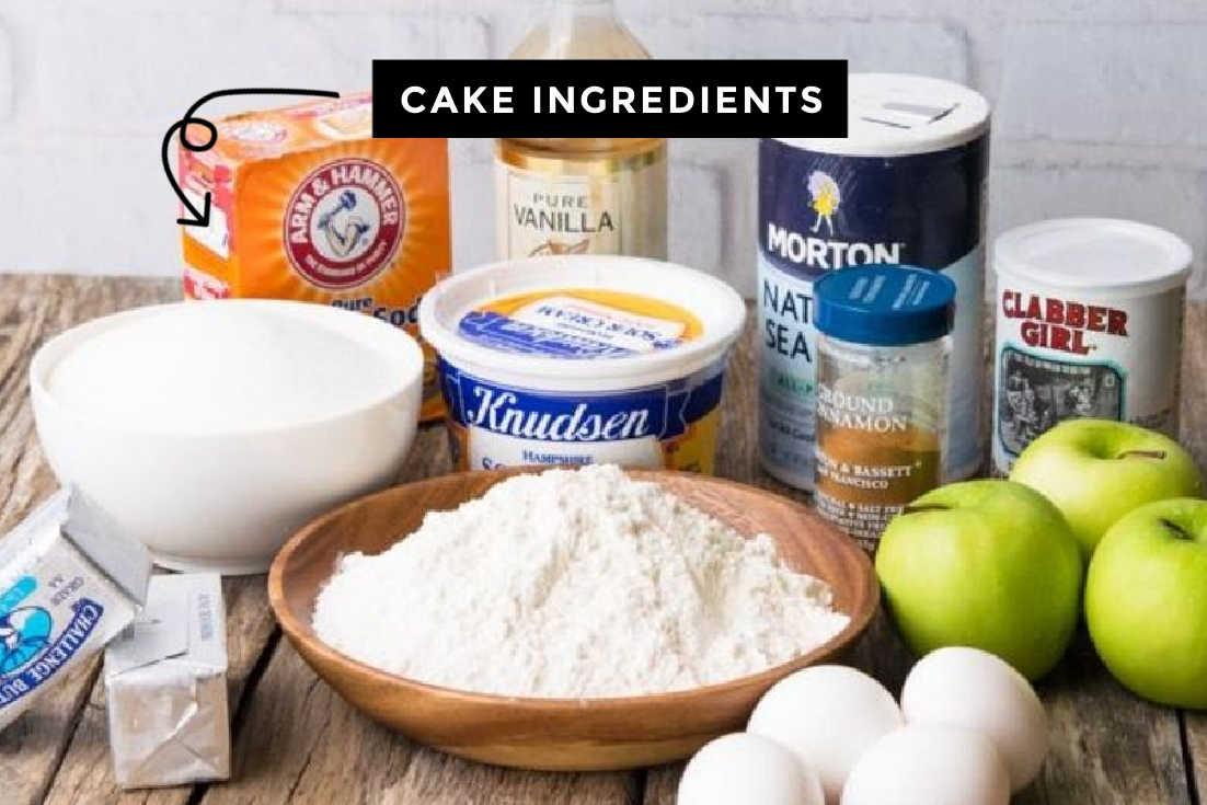 Apple Coffee Cake batter prepared ingredients