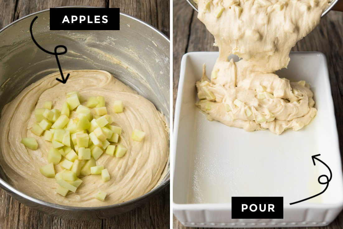 How to make Apple Coffee Cake, folding in the apples and pouring the batter to the casserole dish