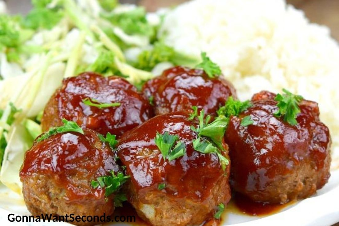 BBQ Meatballs with sauce on top, on a plate
