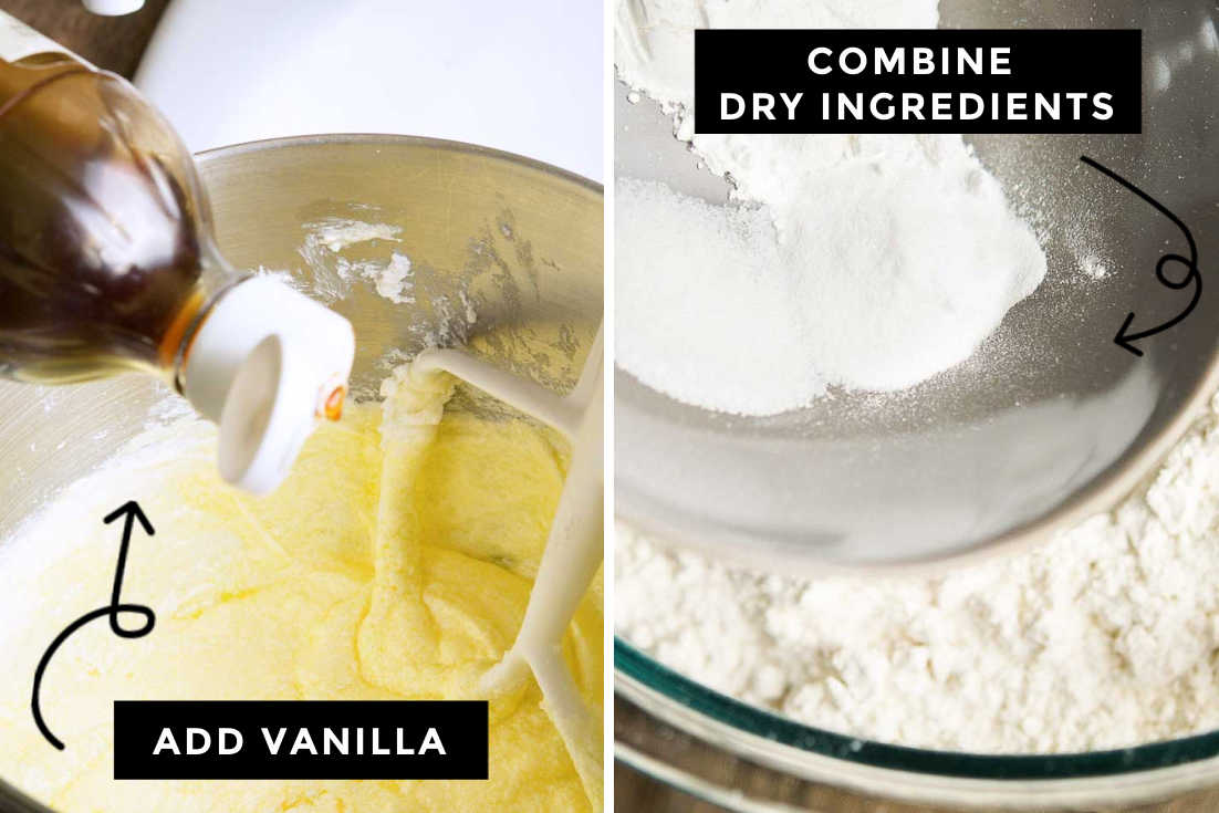How to make Blueberry Coffee Cake, adding vanilla and combining dry ingredients