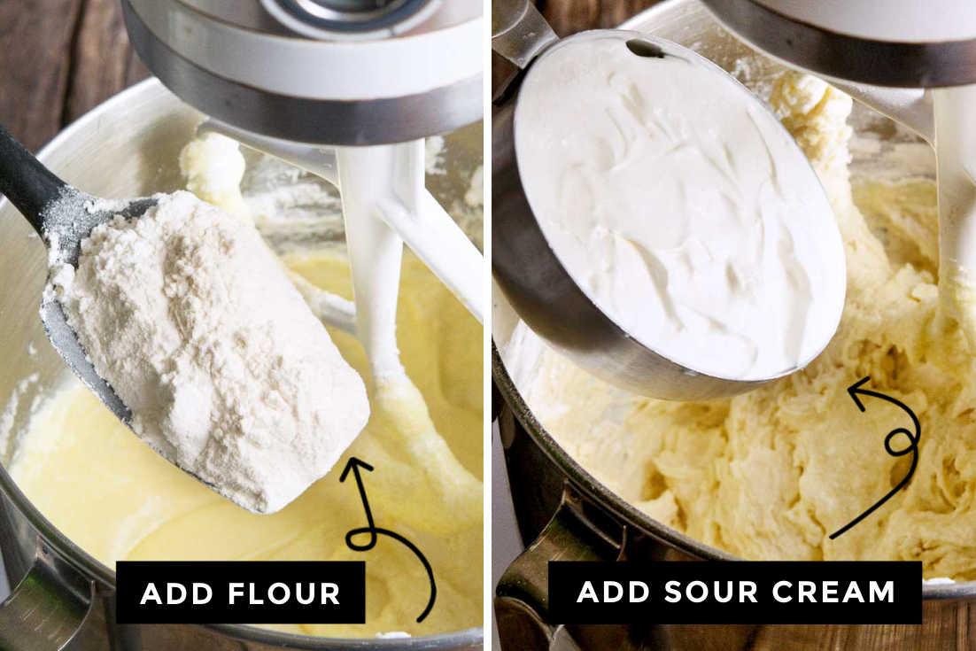 How to make Blueberry Coffee Cake, adding flour and adding sour cream