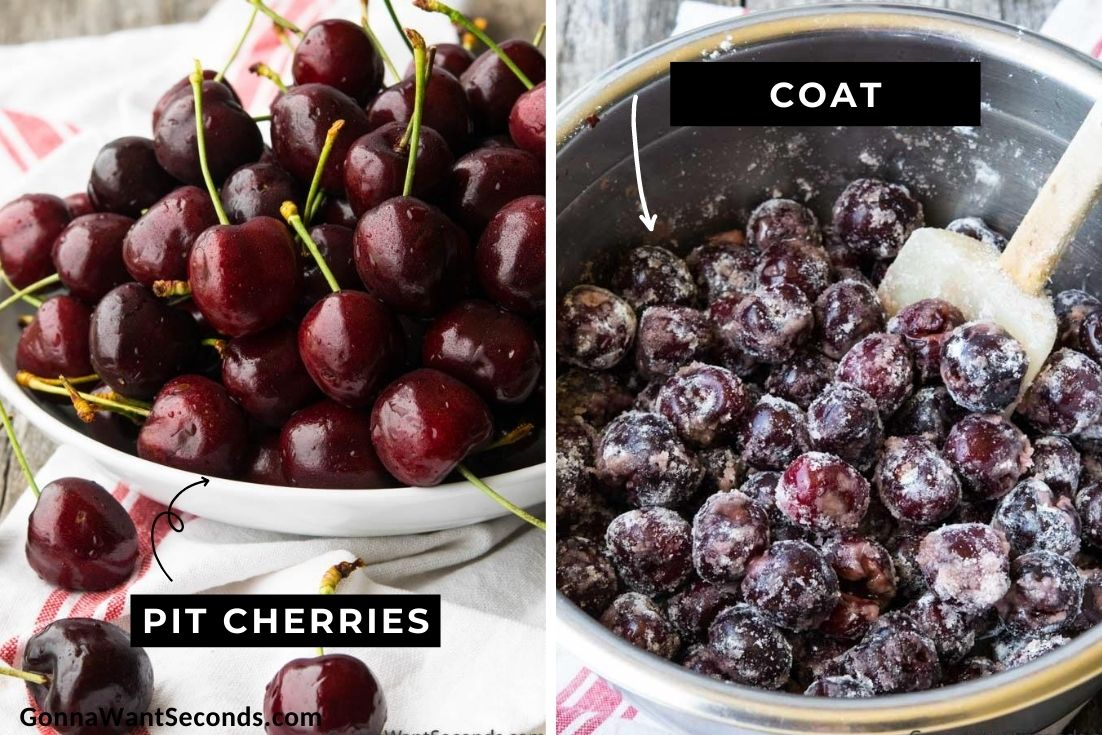 How to make Cherry Crisp, pitting cherries and coating it