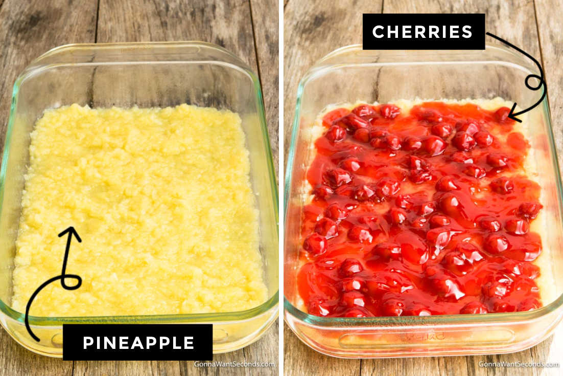 How to make cherry pineapple dump cake, layering pineapple and cherries in the casserole dish