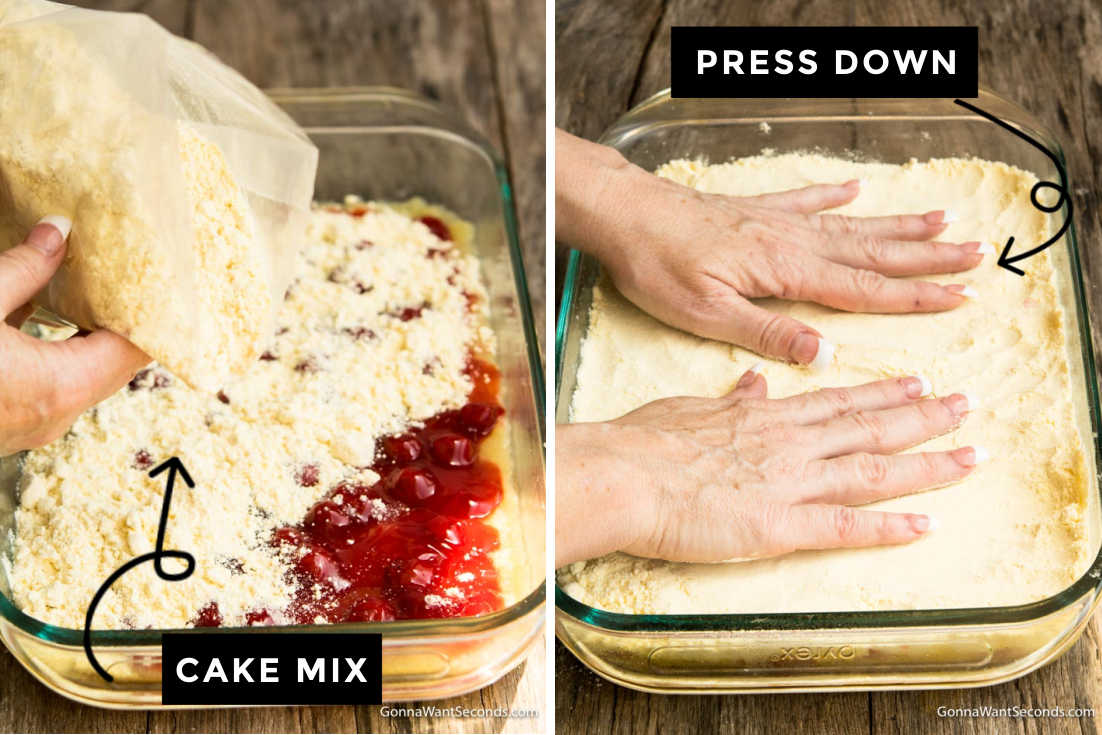 How to make cherry pineapple dump cake, spreading cake mix and pressing it down firmly