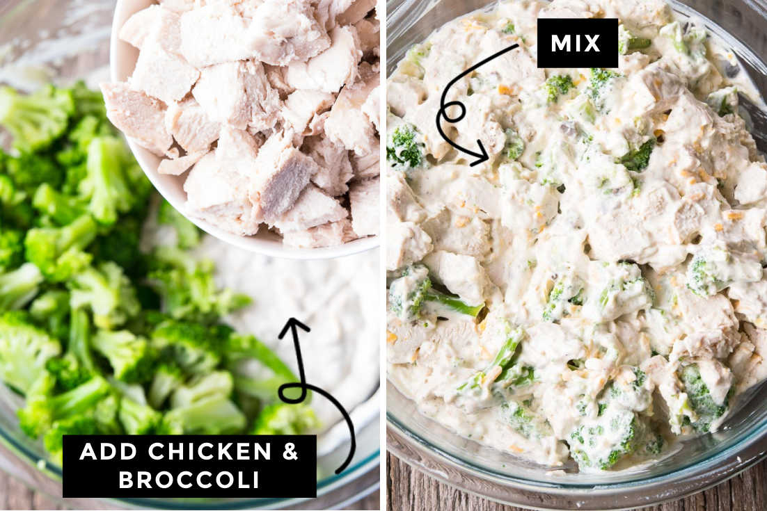 How to make Chicken divan, adding broccoli and chicken to the mixture