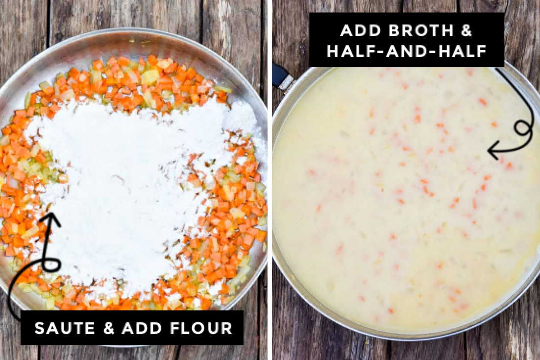 How to make chicken pot pie with biscuits, sauteing veggies adding flour and liquids