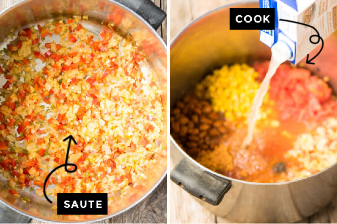 How to make Chicken Taco Soup, cooking the soup in a pot