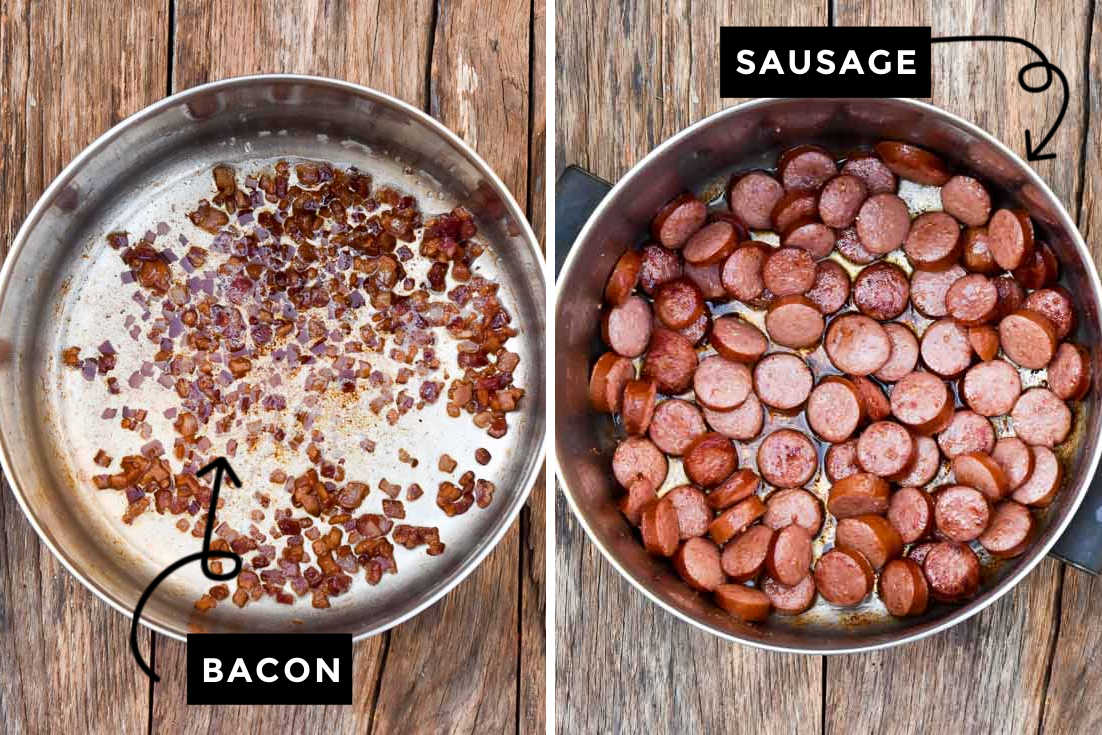 How to make Cowboy stew, cooking bacon and sausage in the pot