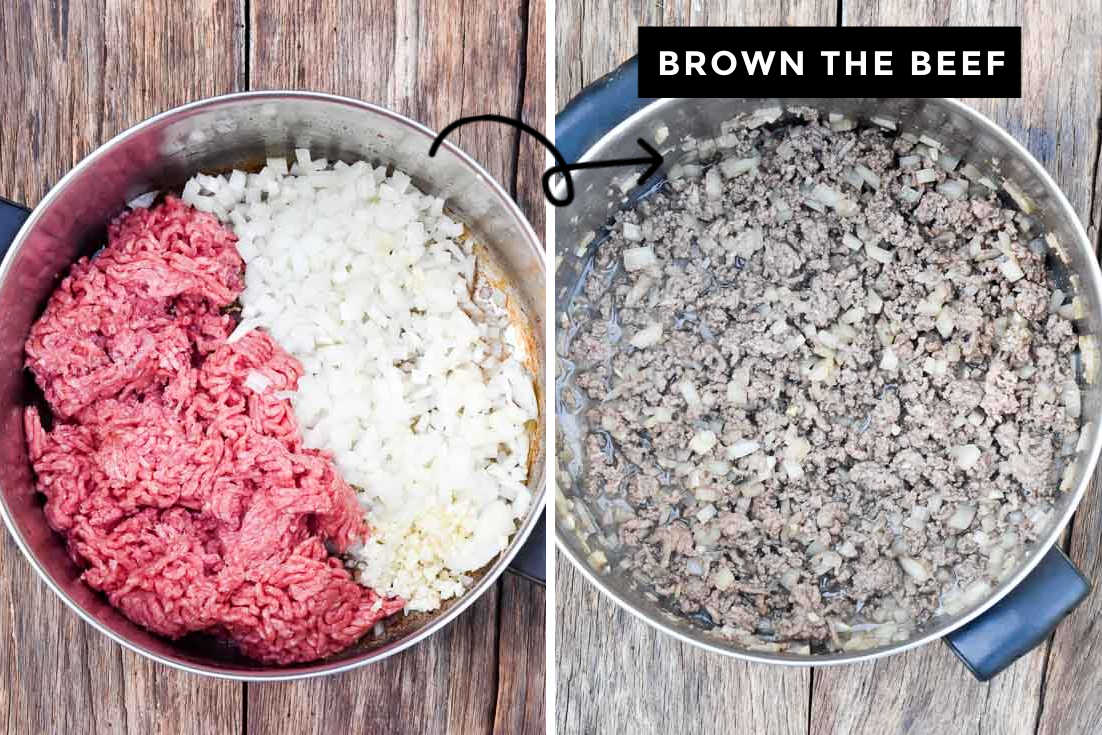 How to make Cowboy stew, browning beef in the pot
