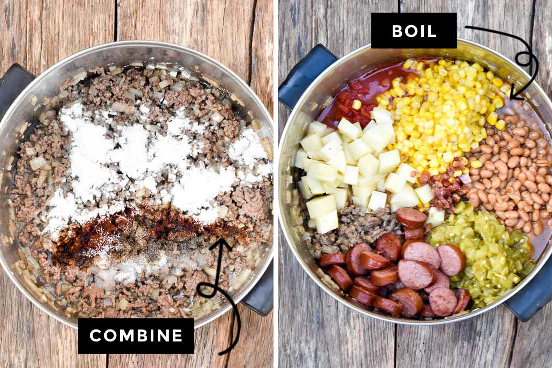 How to make Cowboy stew, browning beef and adding the remaining ingredients in to the pot