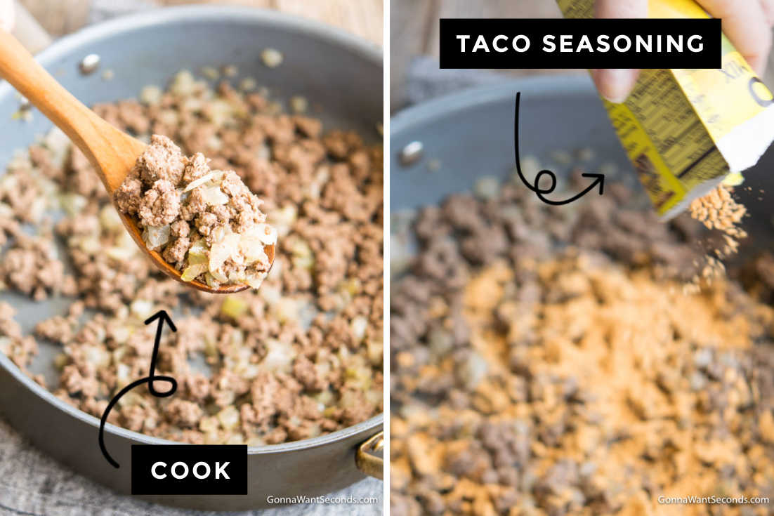 How to make Dorito Taco Salad, cooking meat