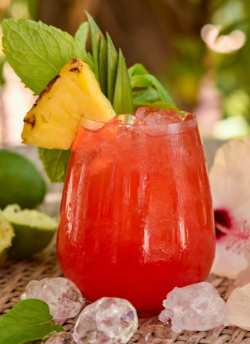 Jungle Bird garnished with pineapple wedge and leaves, with mint