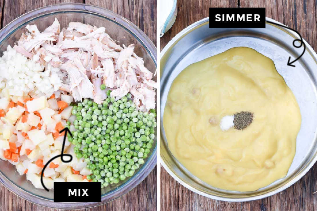 How to make KFC chicken pot pie, boiling the fillings and simmering the cream