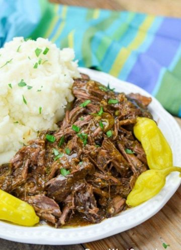 Mississippi Pot Roast with mashed potatoes on the side
