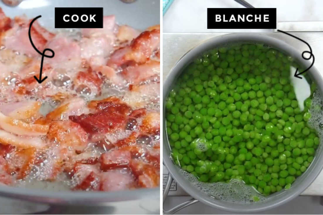 How to make pea salad, cooking bacon and blanching peas