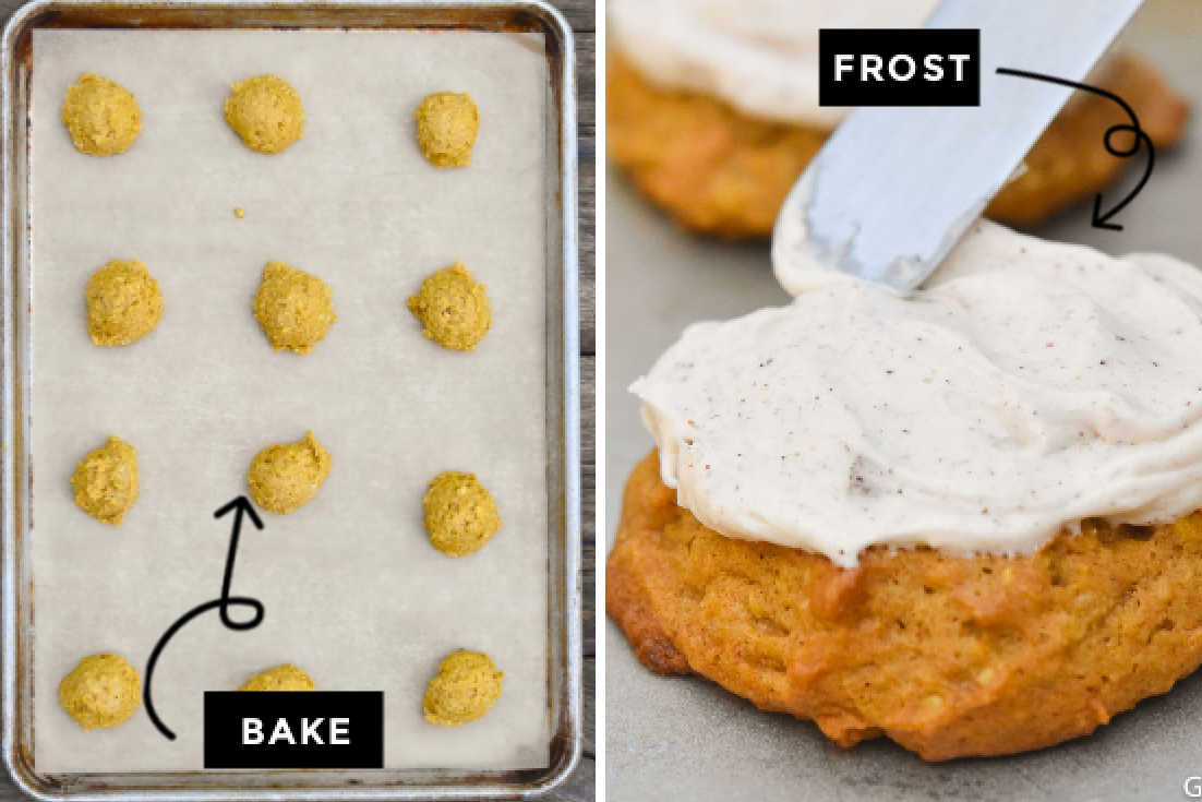 How to make pumpkin oatmeal cookies, bake and frost the cookies