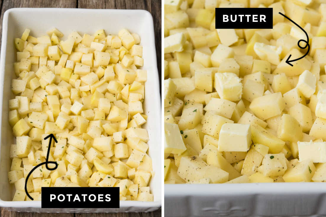 How to make Ranch Potatoes, layering seasoned cubed potatoes and butter