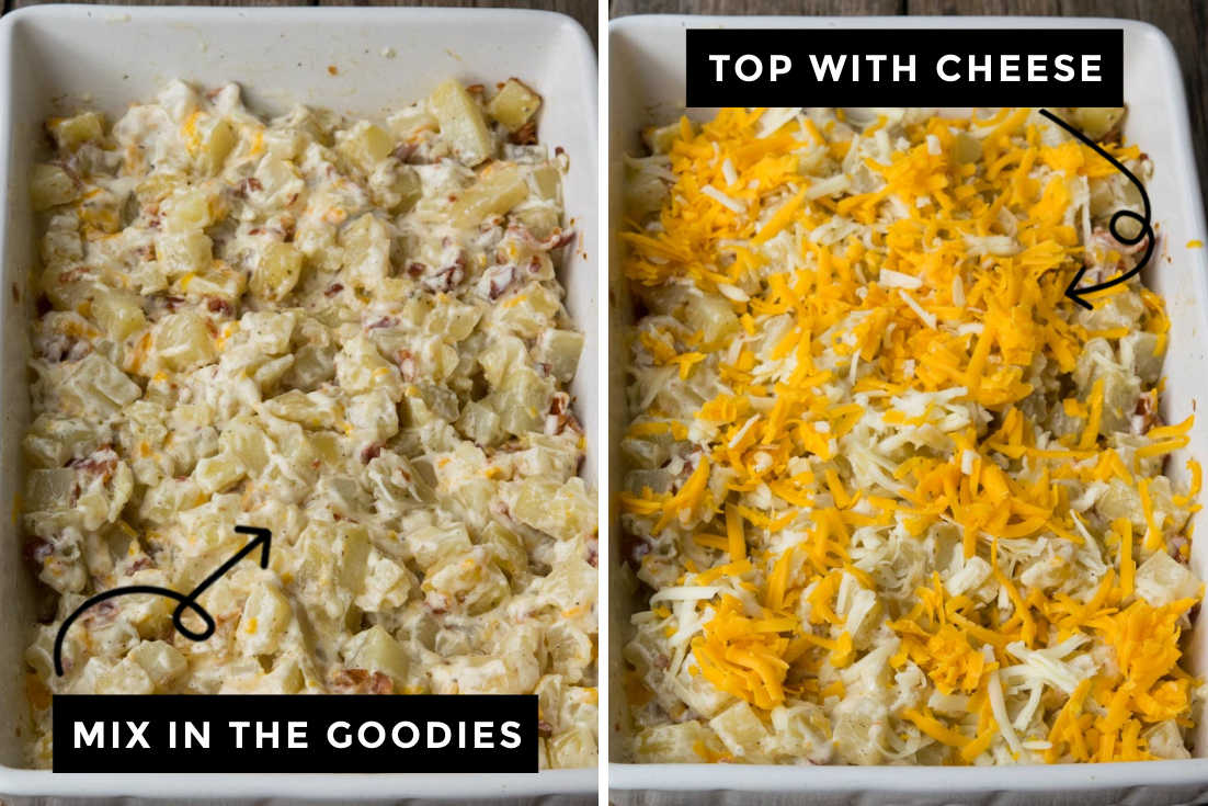 How to make Ranch Potatoes, adding remaining ingredients to the casserole and topping it with cheese
