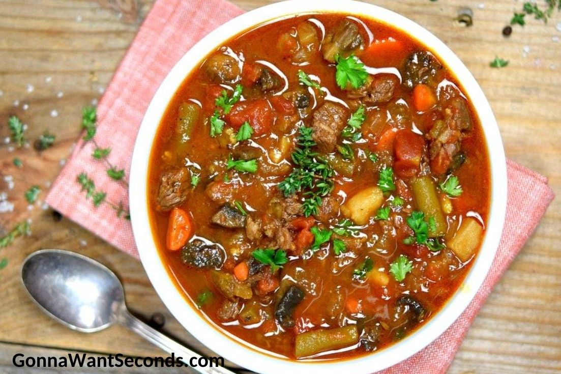 Vegetable Beef Soup in a bowl
