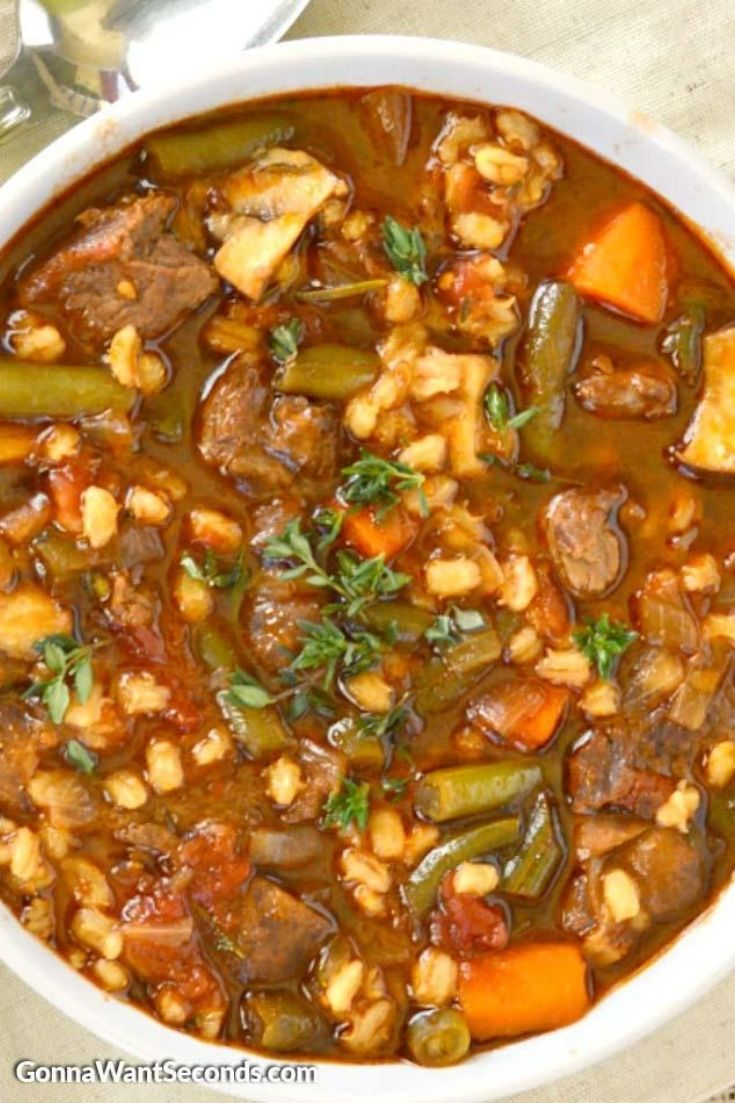 Beef Barley Soup in a bowl
