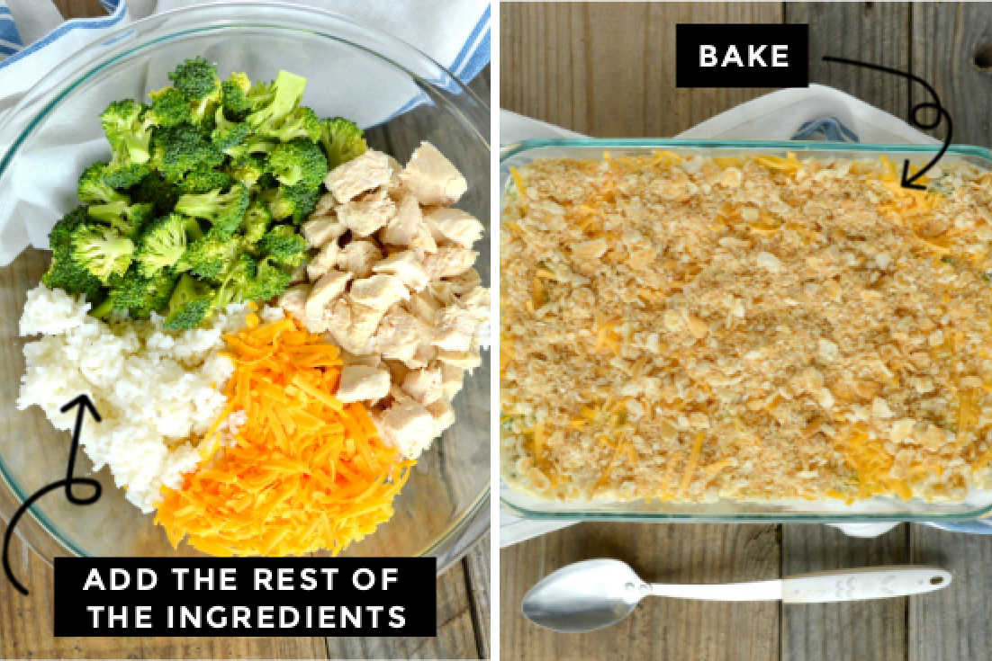 How to make Chicken broccoli rice casserole, mixing all the ingredients in a mixung bowl and assembling it in the casserole dish