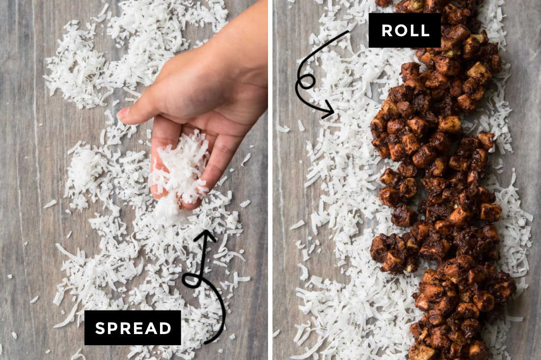 How to make Church Window Cookies, rolling the chocolate mixture on shredded coconut