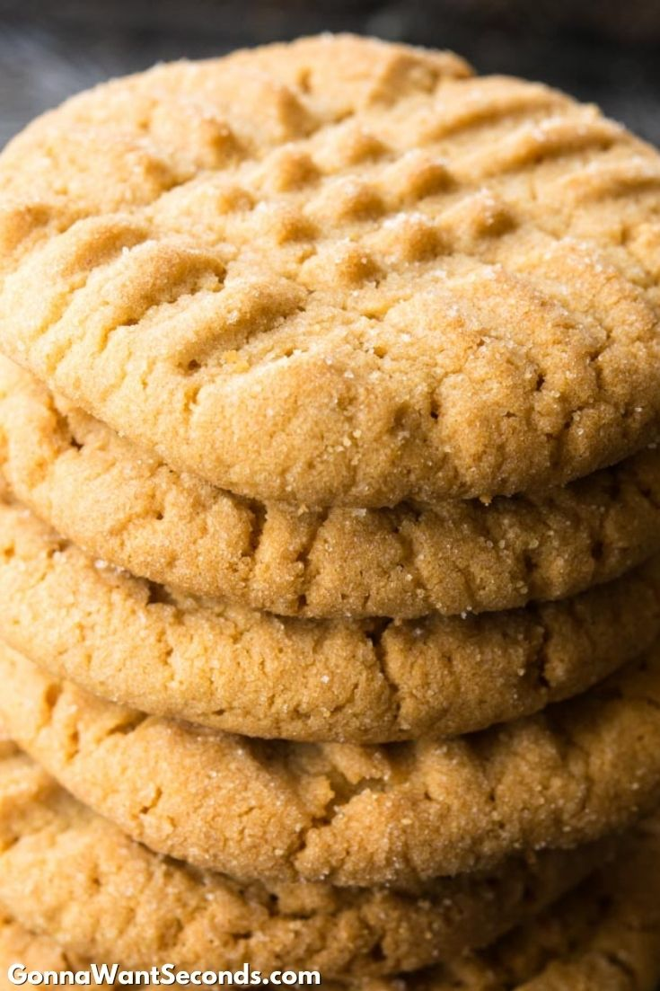 classic peanut butter cookies stack on top of each other
