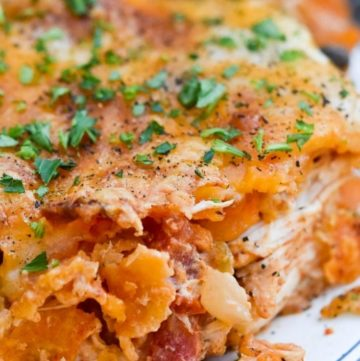 Dorito chicken casserole on a plate