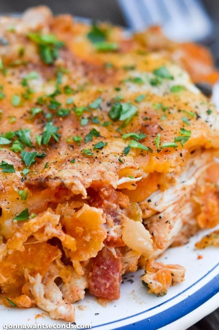 Dorito chicken casserole on a plate