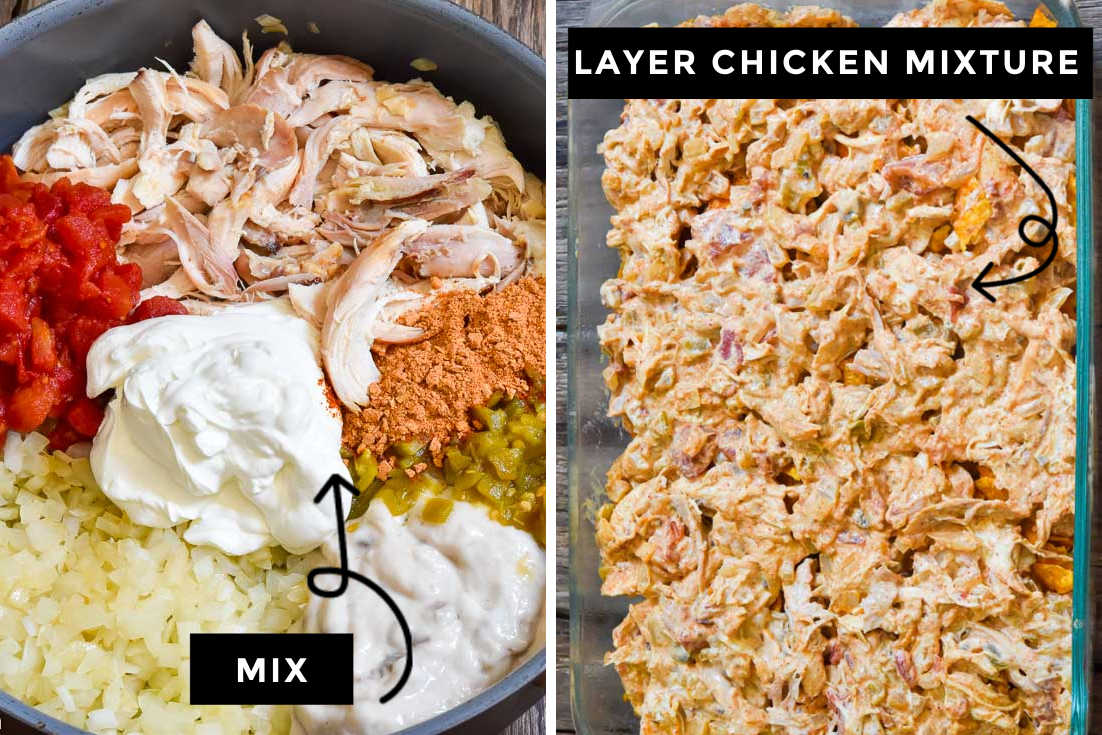 How to make Dorito chicken casserole, mix the ingredients and layer chicken mixture