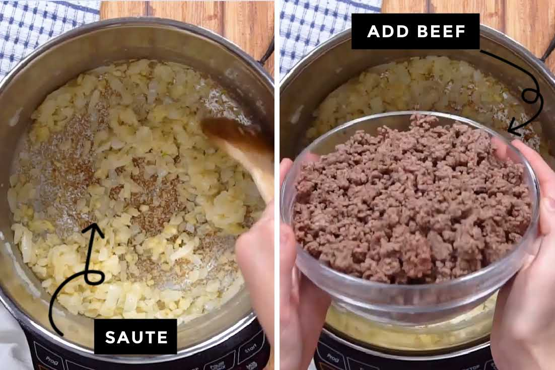 How to make Hamburger Soup, sauteing aromatics and adding the beef back to the pot