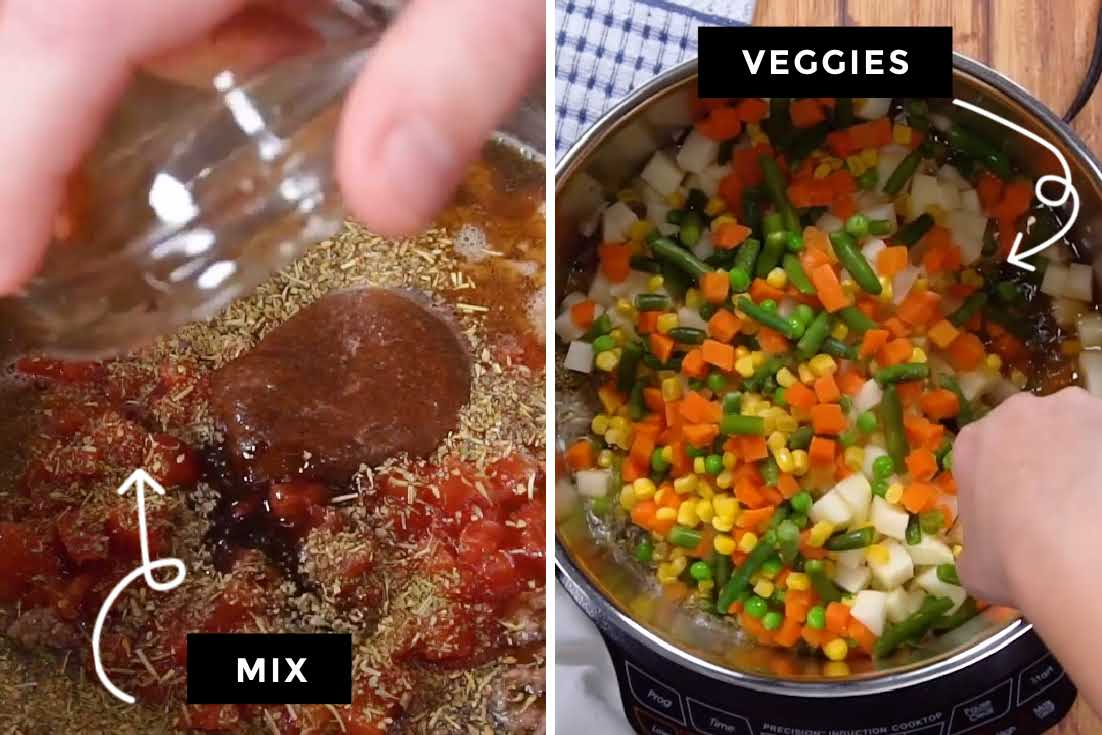 How to make Hamburger Soup, adding the rest of the ingredients and veggies