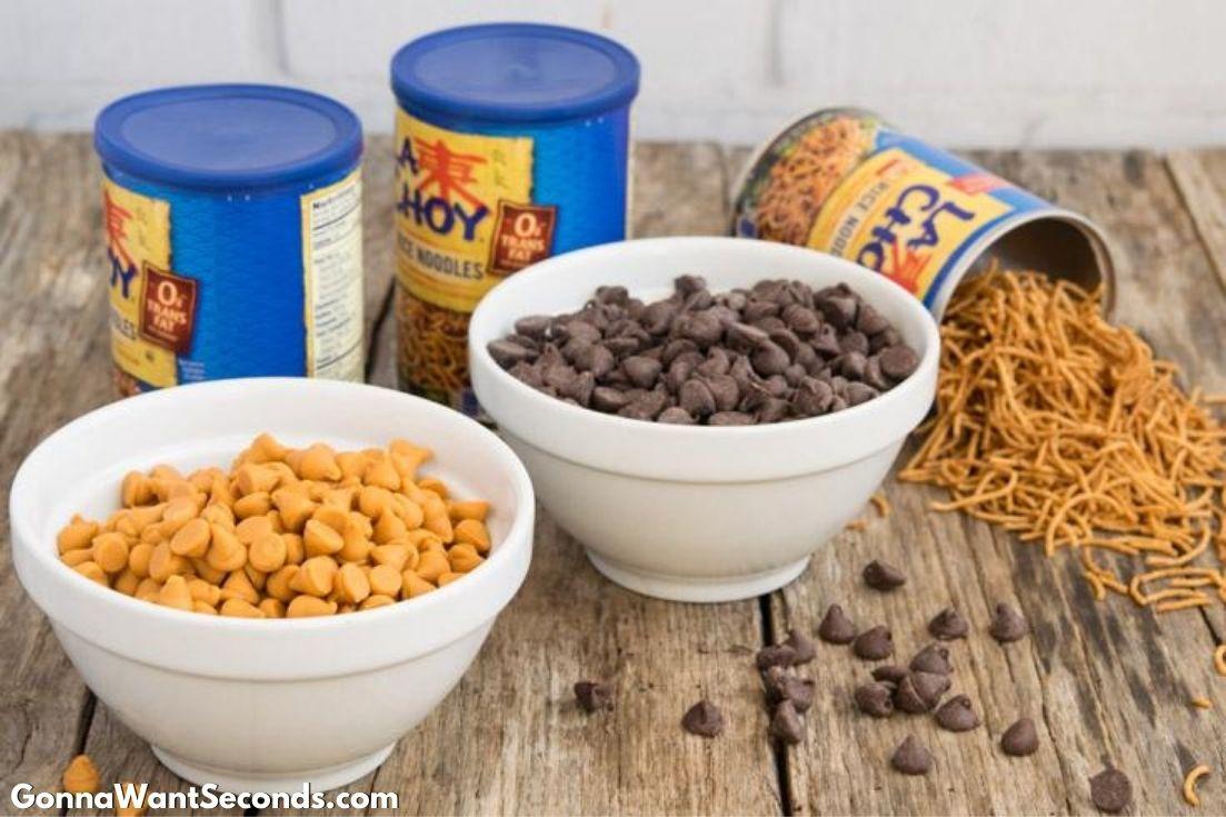 Prepared ingredients for Haystacks cookies