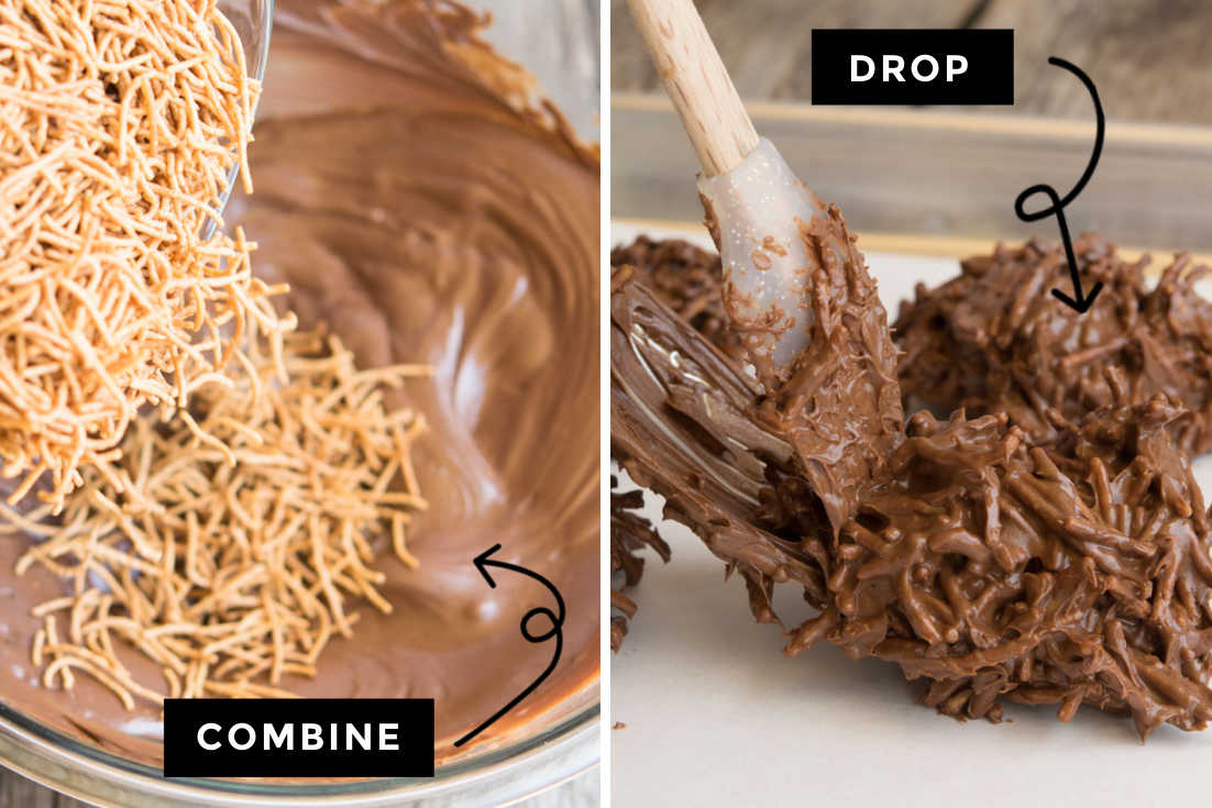 How to make Haystacks cookies, folding in chow mein noodles and cooling it