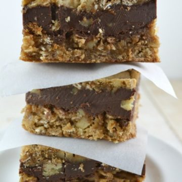Oatmeal Chocolate Chip Bars stack on top of each other