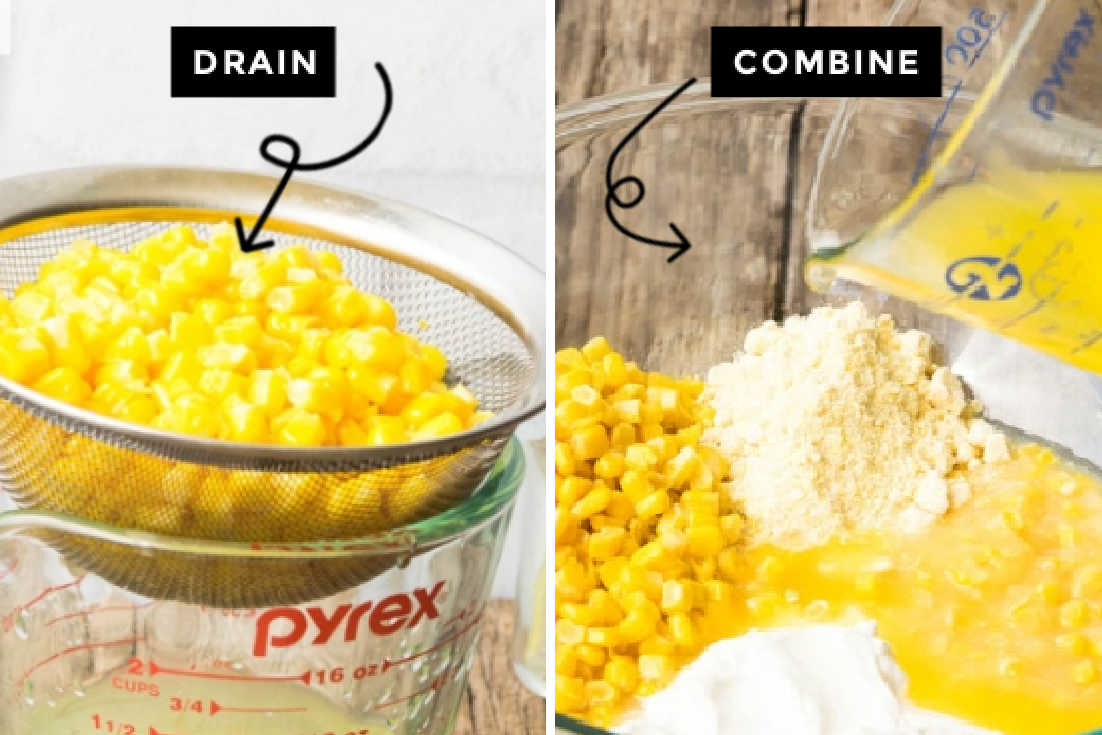 How to make Paula Deen corn casserole, draining corns and combining all the ingredients