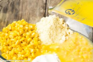How to make Paula Deen Corn Casserole, mixing all the ingredients