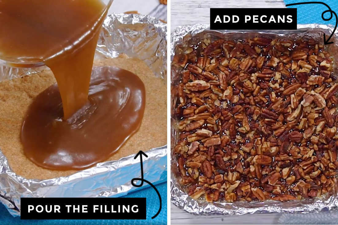 How to make pecan pie bars, pouring the filling and adding pecans