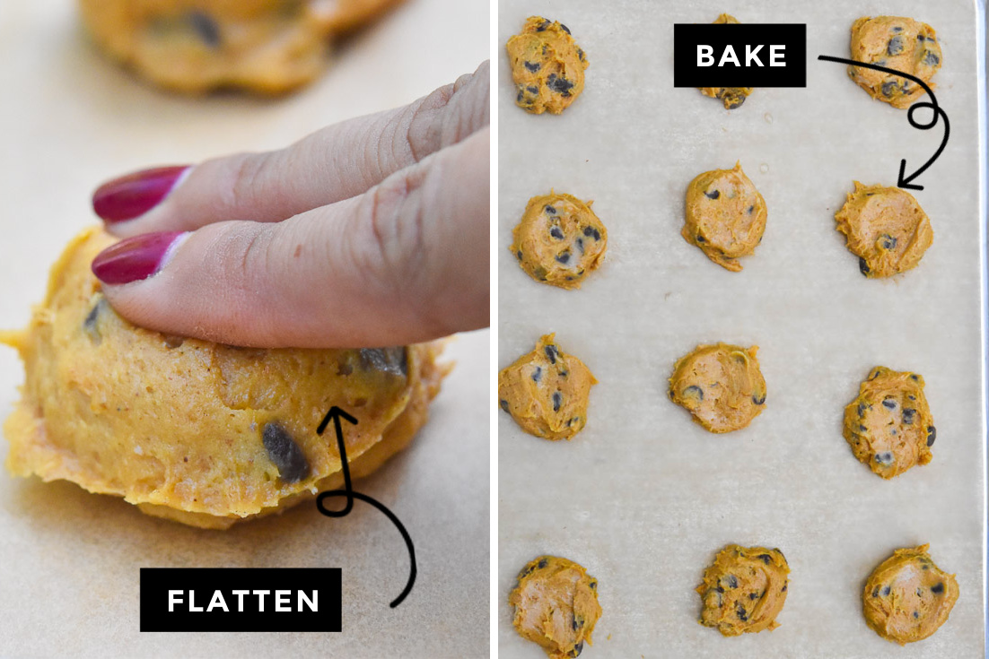 how to make pumpkin chocolate chip cookies, flattening and baking the cookies