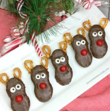 Reindeer Nutter Butter Treats on a rectangular serving plate