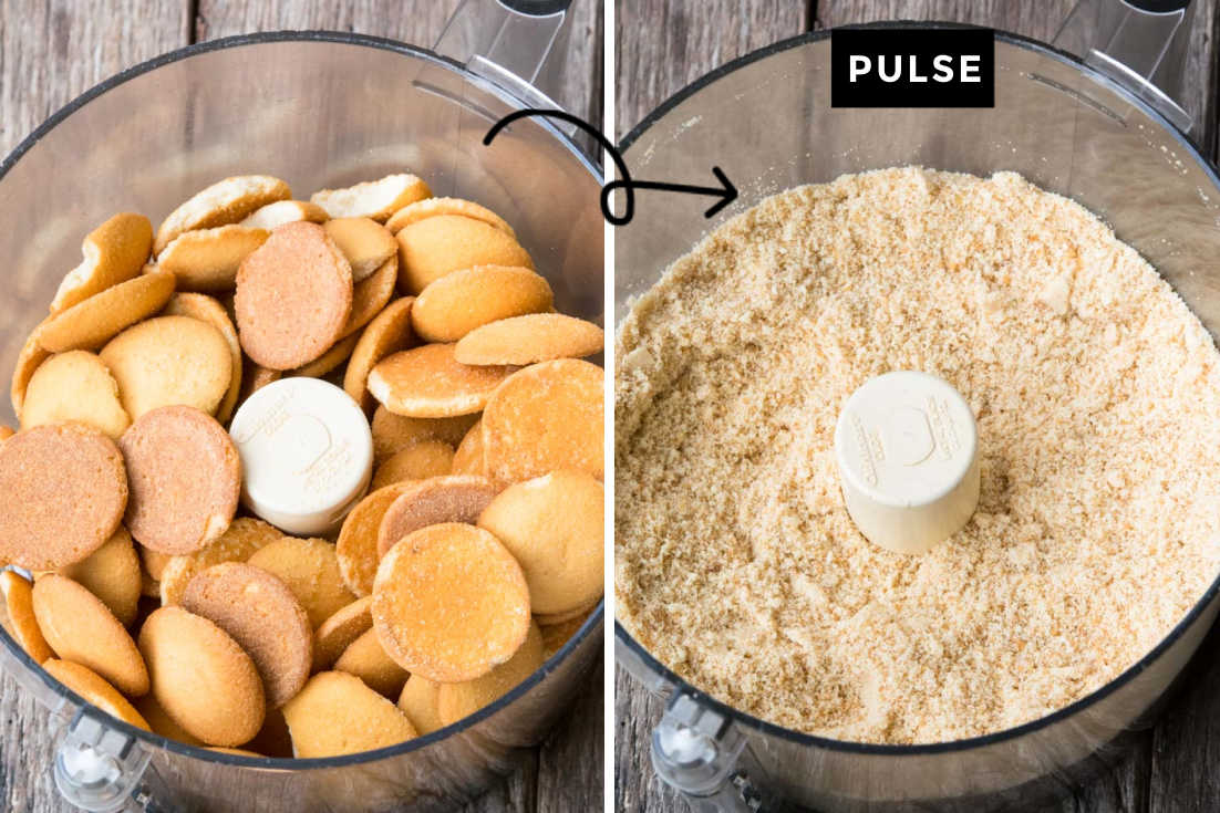 How to make rum balls, pulsing vanilla wafers in the food processor into fine crumbs