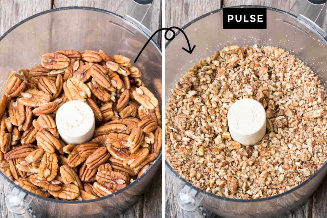 How to make rum balls, pulsing pecans in the food processor until finely chopped