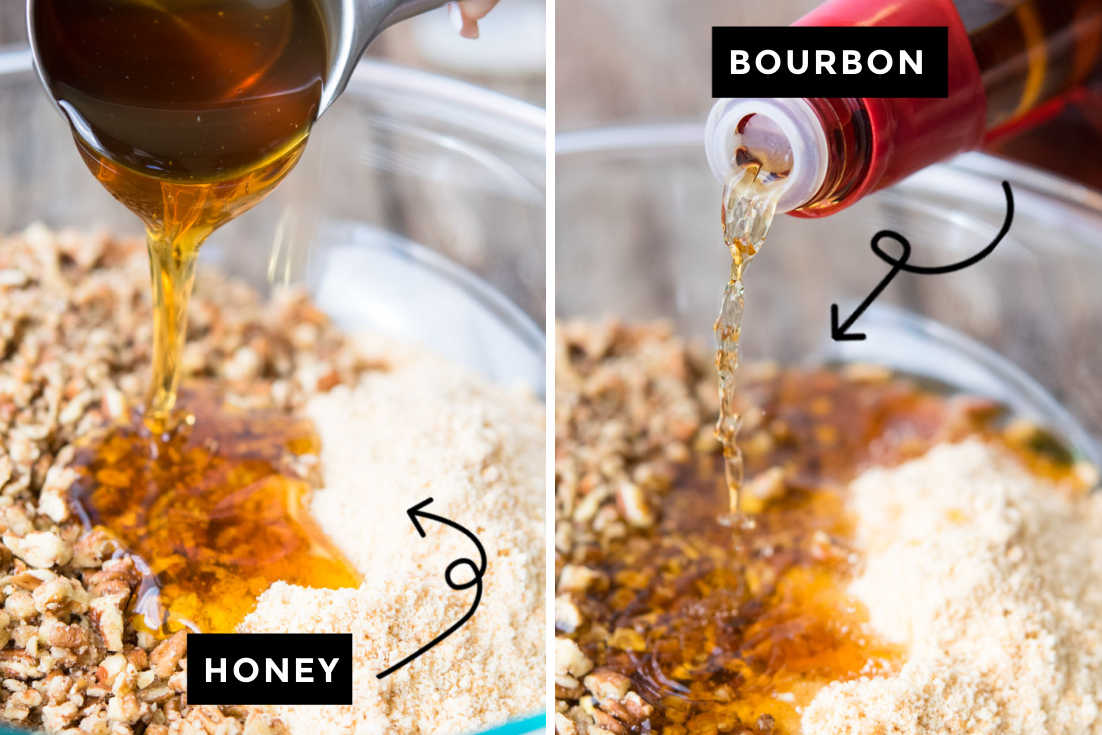 How to make rum balls, adding honey and bourbon