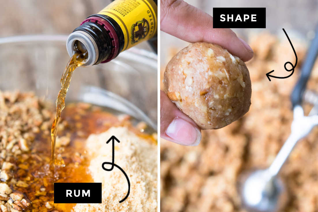 How to make rum balls, adding rum and shaping it into balls