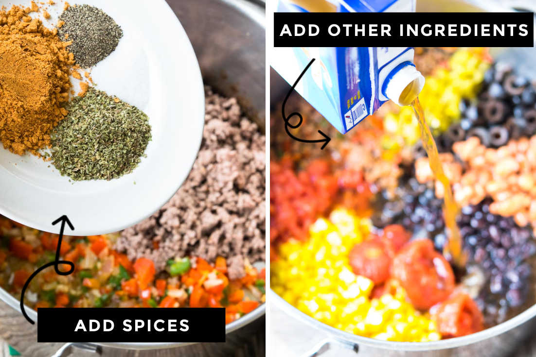 How to make Taco Soup, adding spices and the rest of the ingredients