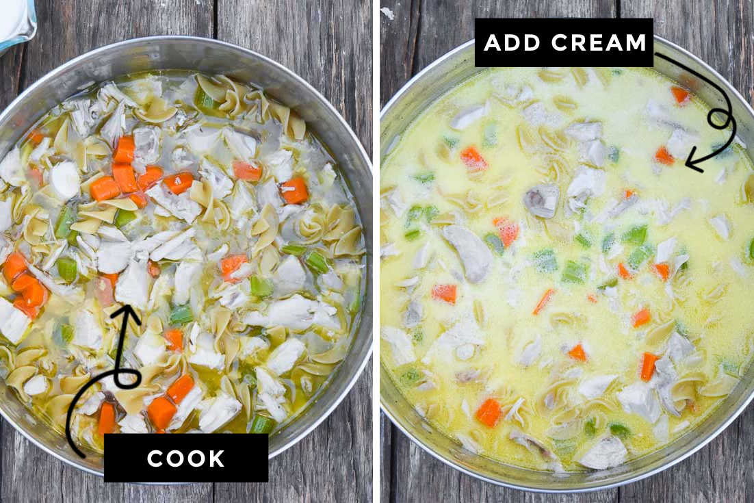 How to make Creamy Chicken Noodle Soup, add all ingredients and boil. Add the cream