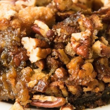 Pecan Pie Cobbler on a plate